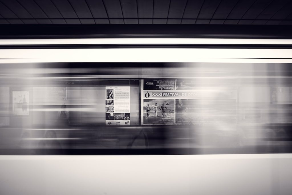 Digital commute blurred train
