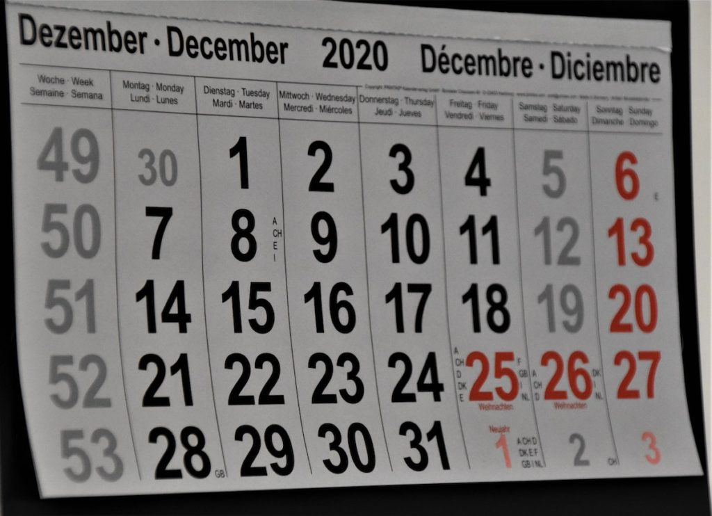 Making Plan s calen dar view of December 20200