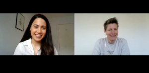 Dr Yasmin Mohseni and Leanne Spencer talking on Zoom