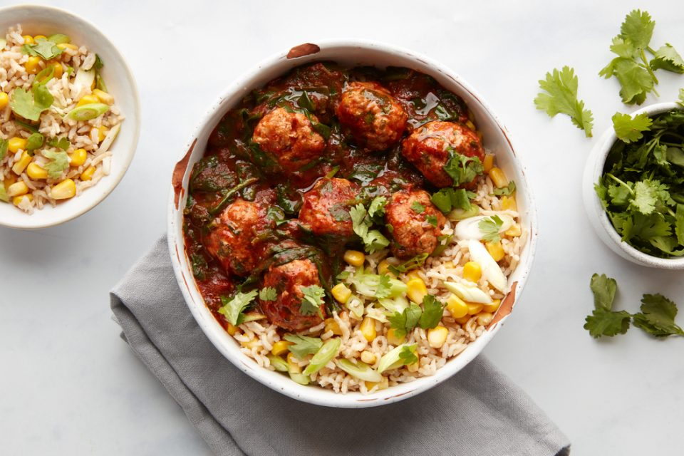 Chipotle pork meatballs, Mexican-style rice