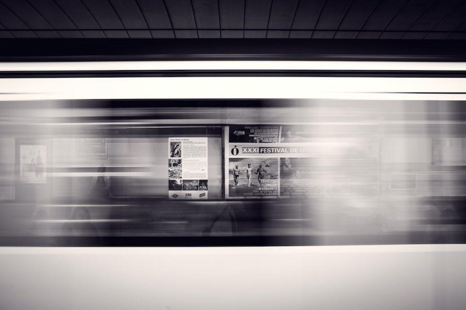 Digital commute blurred train