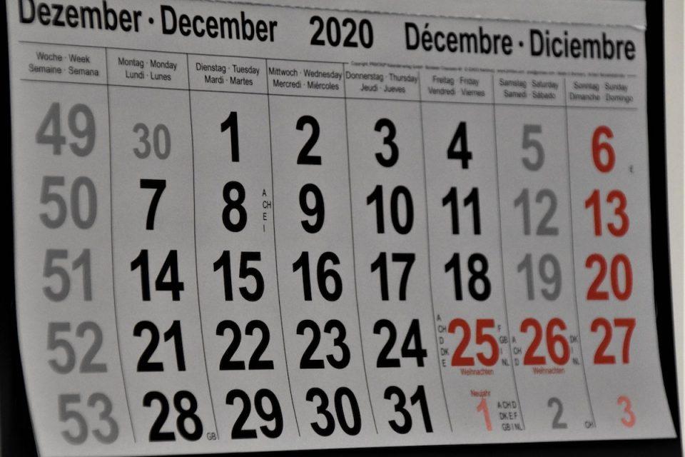 Making Plan s calen dar view of December 20200