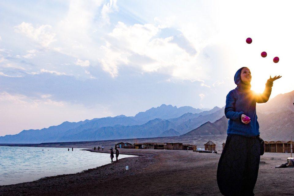 5 lockdown 2 wellbeing tips - woman juggling outdoors